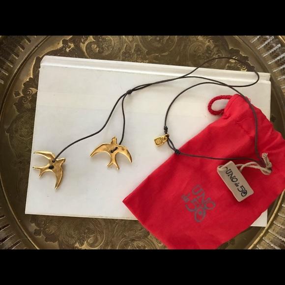 UNO de 50 Jewelry - UNO de 50 Gold swallow leather necklace